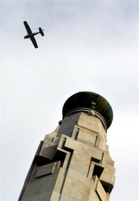 One of the planes which flew over the Cenotaph in Dunedin yesterday to mark the 74th anniversary...