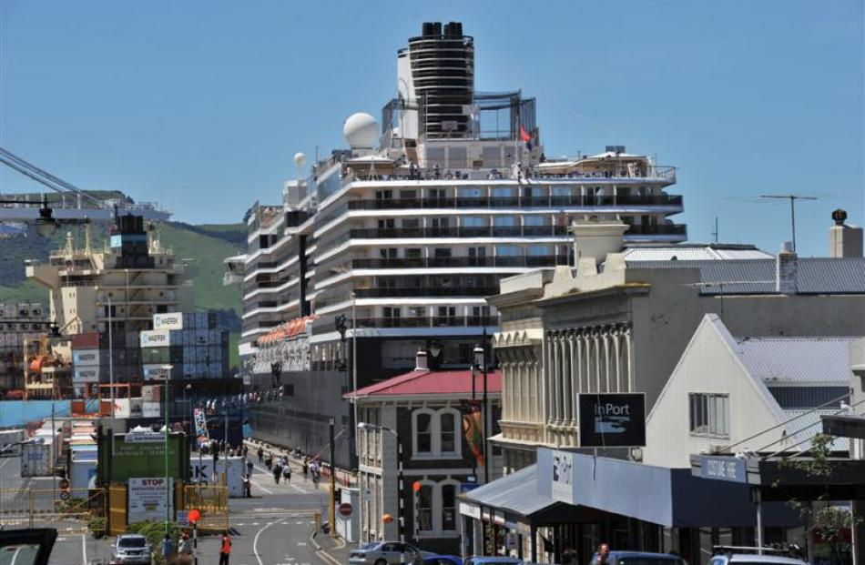 Oosterdam berthed at Port Chalmers yesterday. Photo by Jane Dawber.