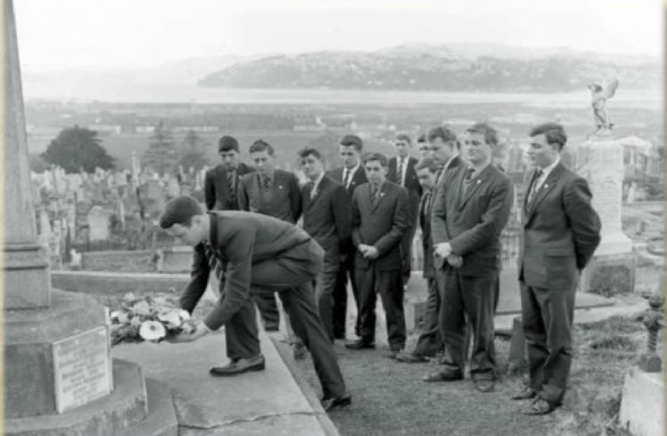 Otago Boys' High School head prefect Bernard Lunn lays a wreath at the grave of doomed first...
