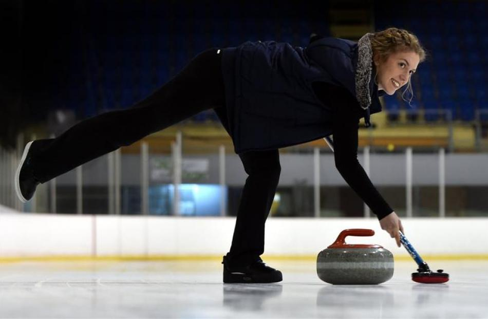 Otago Girls' High School pupil Emma Sutherland, who will represent New Zealand in curling, shows...