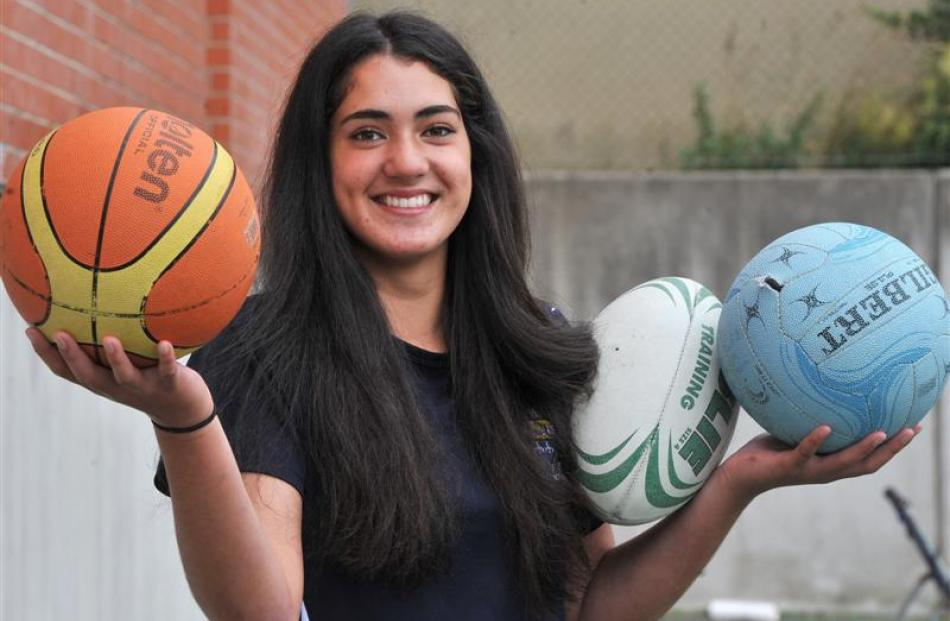 Otago Girls' High School pupil Kiano Pelasio has represented Otago in three sports. Photo by...