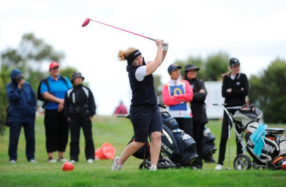 Otago No 2 Jo Hicks-Beach tees off at the 10th hole at the women's interprovincial golf...