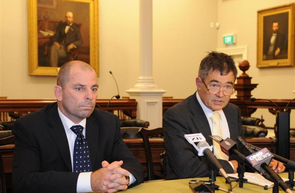 Otago Rugby Football Union change manager Jeremy Curragh (left) and Dunedin Mayor Dave Cull...