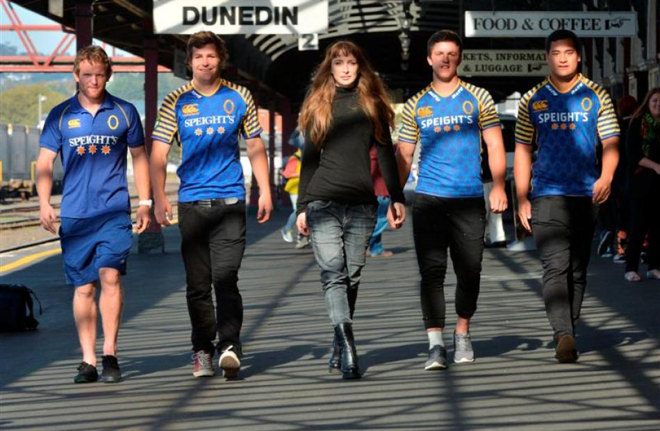Otago rugby players (from left) Peter Breen, Michael Collins, Teihorangi Walden and Fa'asiu...