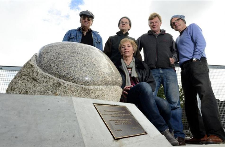 Otago Sculpture Trust members and supporters hold a re-unveiling of the Dunedin-Edinburgh Stone....