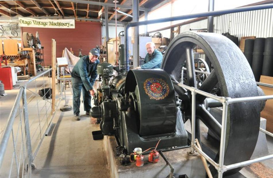 Otago Vintage Machinery Club members Gordon Soper, of Fairfield, (left) and Ron Holdaway, of...