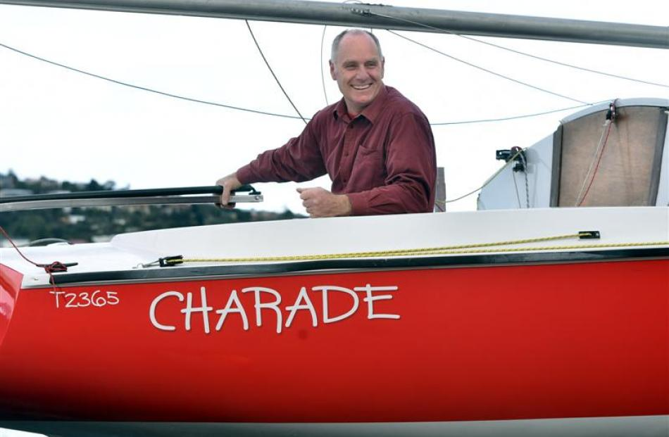 Otago yachtsperson of the year Alex Bruce in his yacht Charade. Photo by Peter McIntosh.