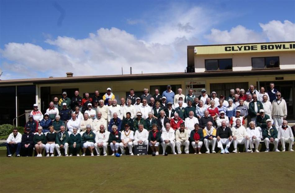 Past and present Clyde Bowling Club members turn out to celebrate the club's centenary. Photo by...