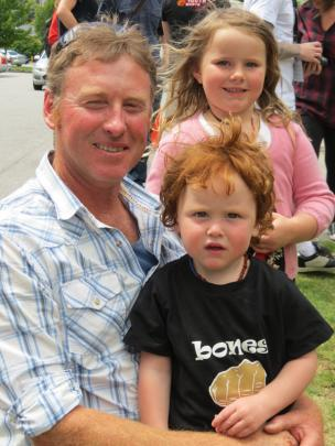 Paul Baikie and Zak Baikie (2), both of Twizel, with Ruby Walker (5), of Queenstown.