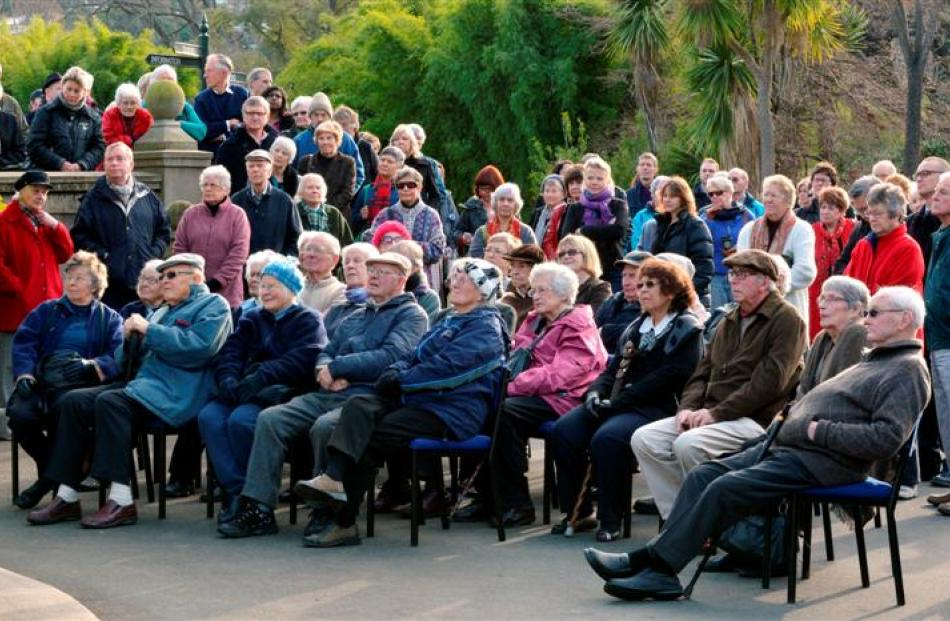 People gather for Dunedin Botanic Garden 150th anniversary celebrations yesterday.