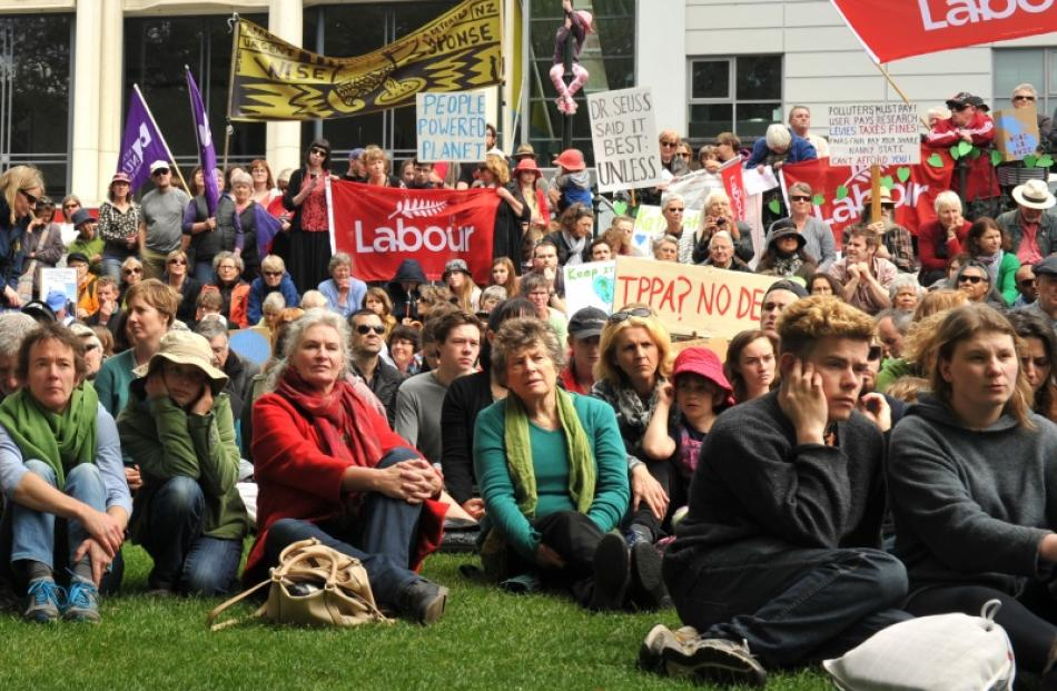 People who marched to bring attention to climate change gather in the Octagon Dunedin on Sunday....