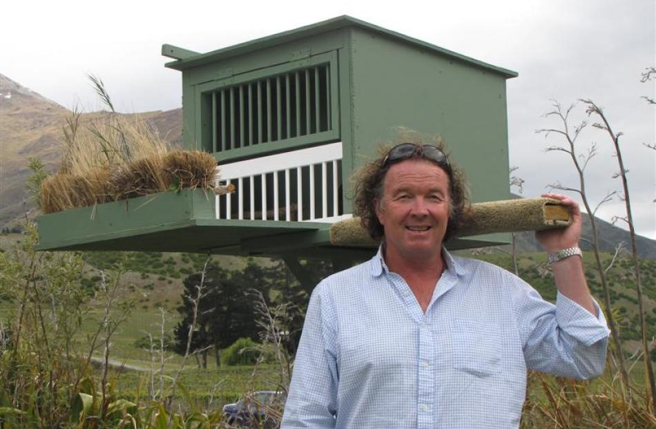 Peregrine Winery brand ambassador Greg Hay in front of the specially built home  for a new falcon...