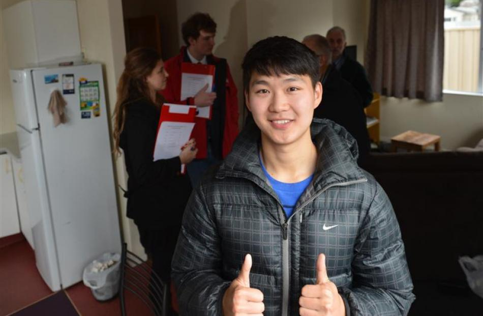 Pharmacy student Zheng Li (21) in his Ethel Benjamin Pl flat, which was nominated for the best...