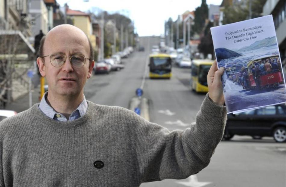 Phil Cole on the campaign to reinstate the High St cable car in this 2011 photo.  Photo by Gerard...