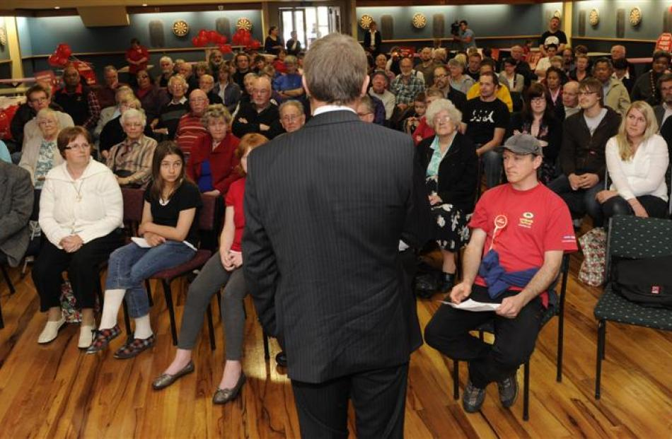 Phil Goff takes his message to a meeting at the  South Dunedin Community Hall yesterday. Photo by...