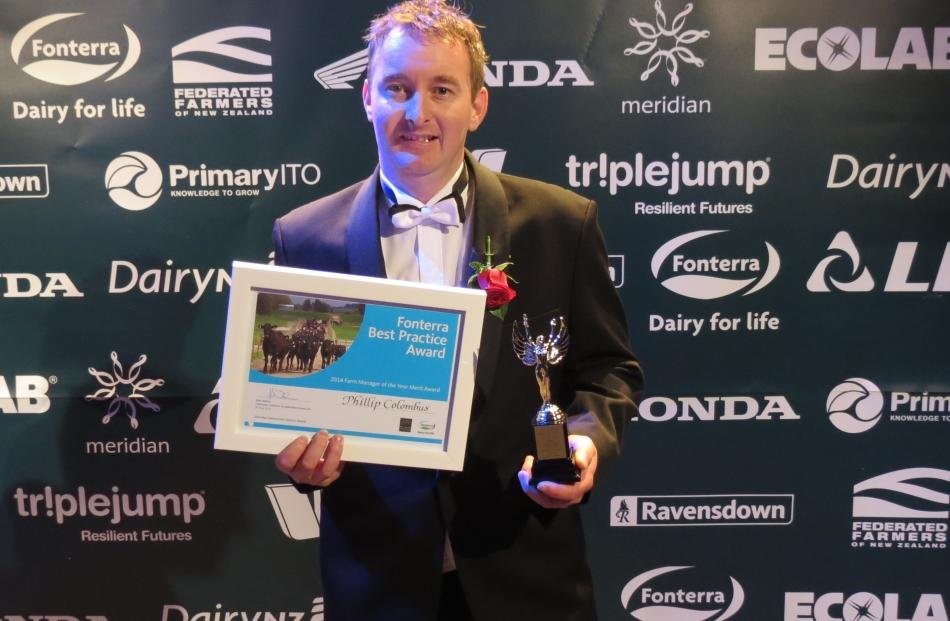 Phillip Colombus, of Oxford,  placed third in the 2014 New Zealand Dairy Industry awards' New...