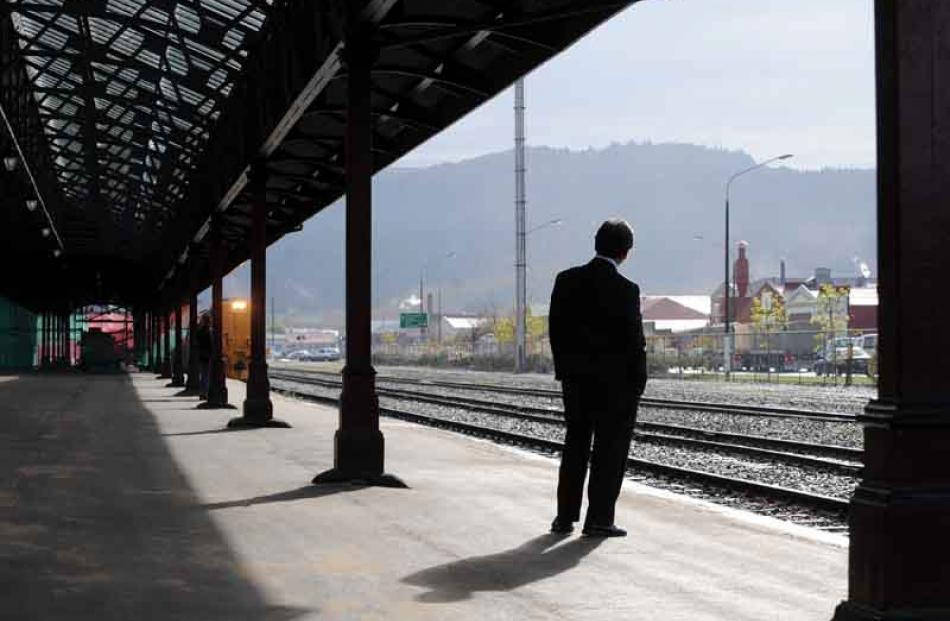 Mayor of Dunedin Peter Chin waits for the train to arrive at Dunedin Railway Station.