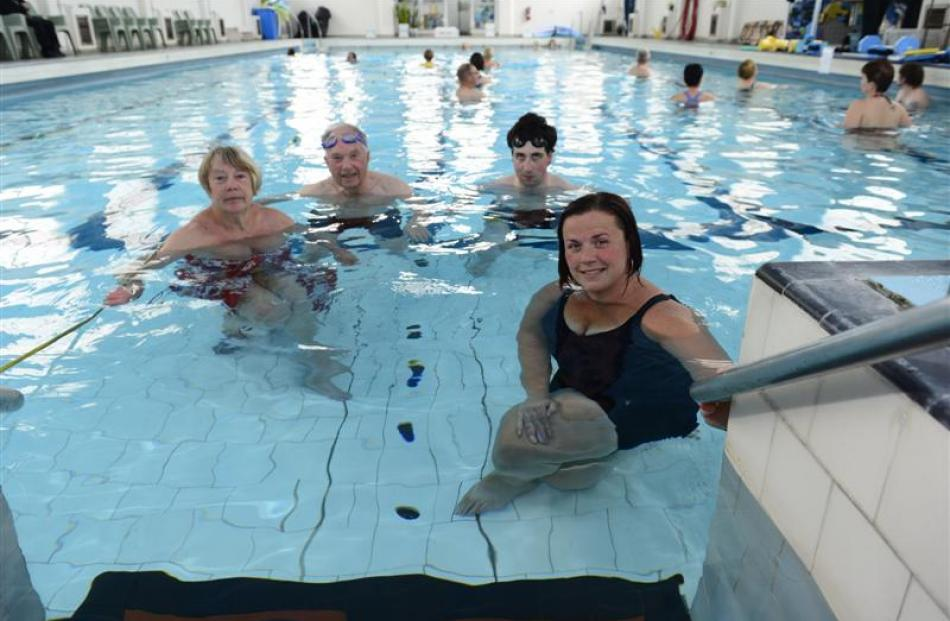 Physio Pool users (clockwise from left) Joyce Mullen, of Orchard Sun Club, Keith McFarlane, of...