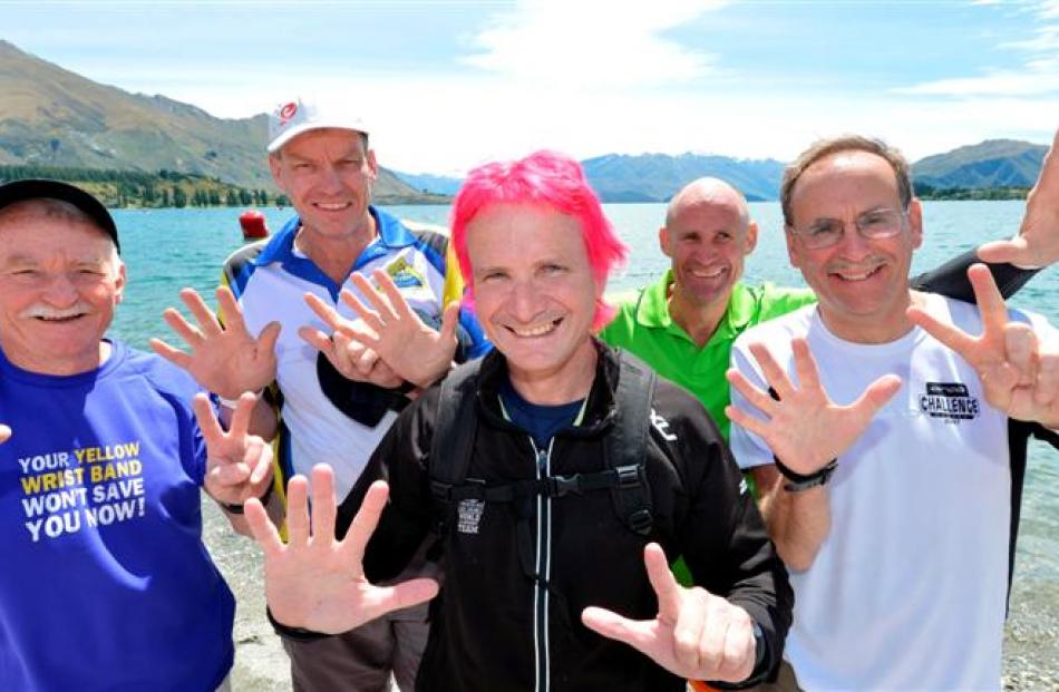 Pictured from left are Jim Goodwin (64), of Auckland, Jonathan Osborne (48), from Australia, Jack...
