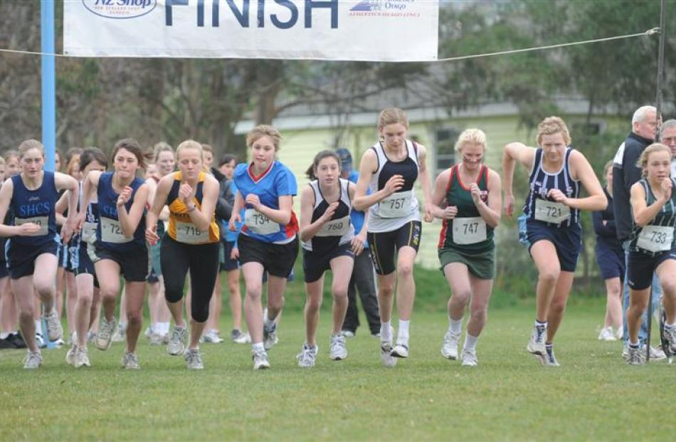 Pictured (from left) in the girls race are: Annabelle Batchelor (St Hildas), Ruby Smith (St...