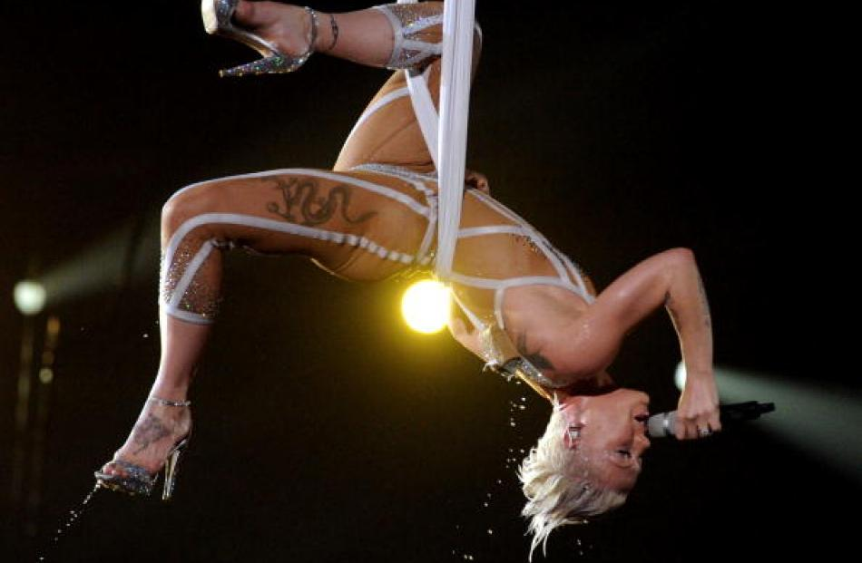 Pink performs during the 2010 Grammy Awards at the Staples Center in Los Angeles, California. ...