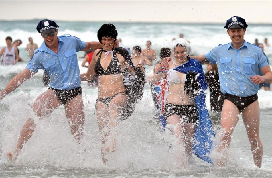 Polar plungers (from left) Tim Lungley, Brittany Whelan, Marliese Bradley and Lance Lungley, all...