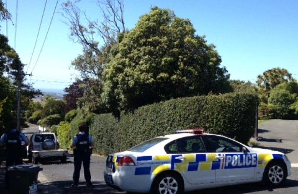 Police at the scene in Maryhill. Photo ODT