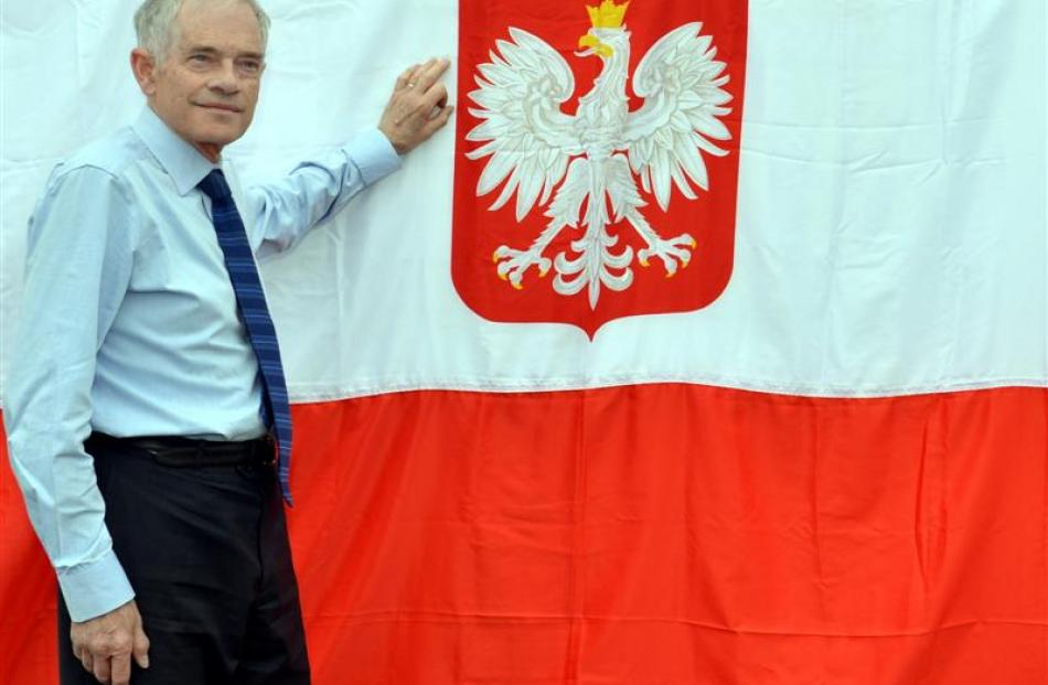 Polish Heritage of Otago and Southland Charitable Trust Russell Chiles with  a Polish flag in...