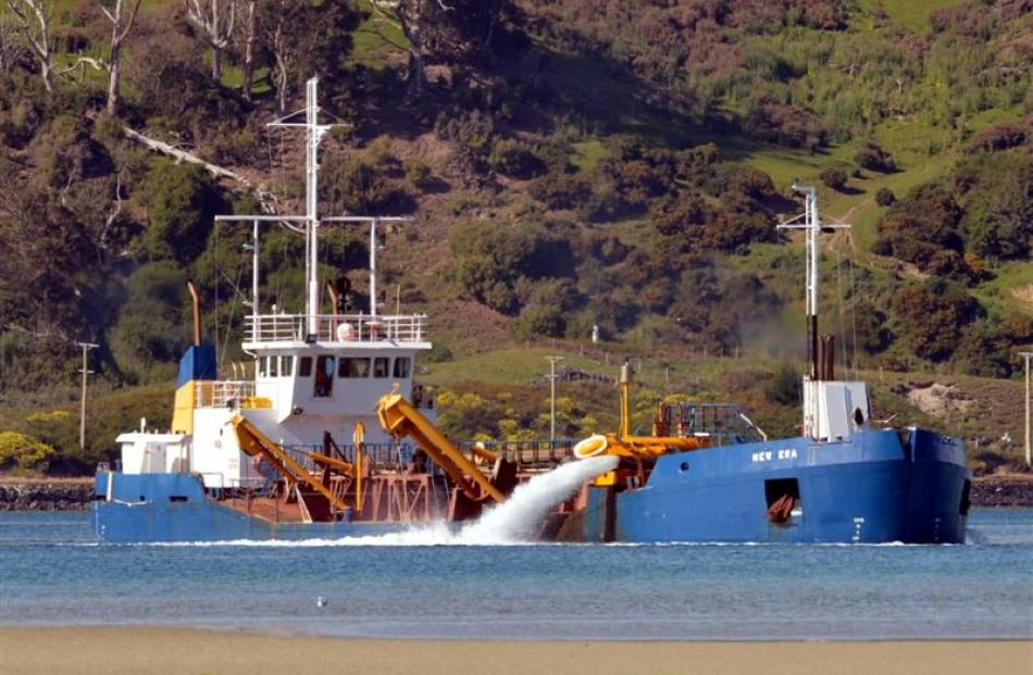 Port Otago's New Era dredge working off Harwood. Photo by Stephen Jaquiery.