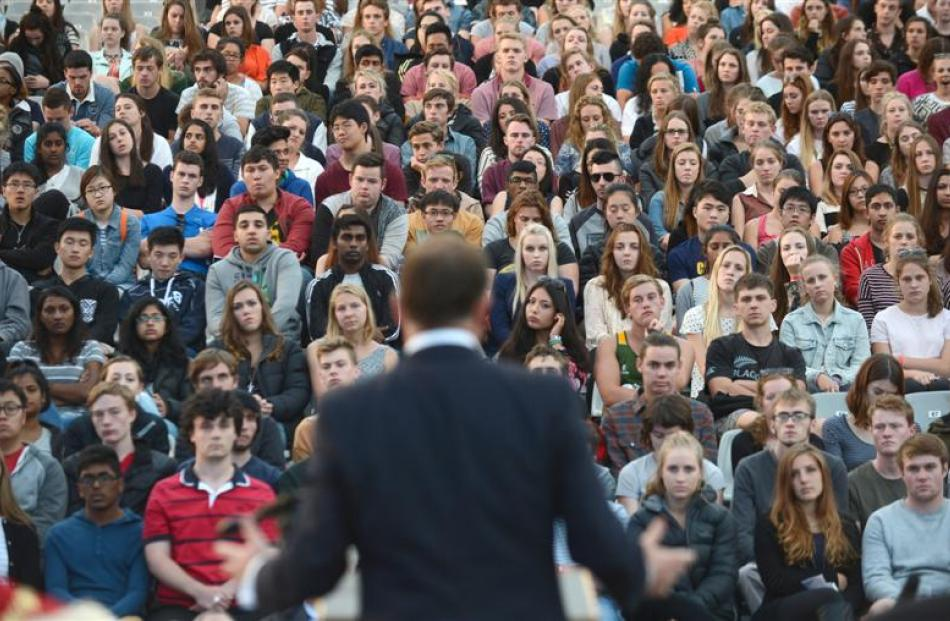 Prime Minister John Key addresses first-year University of Otago students during the university's...