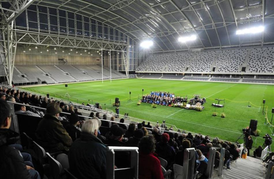 Prime minister John Key opens Forsyth Barr Stadium yesterday. Photos by Craig Baxter.
