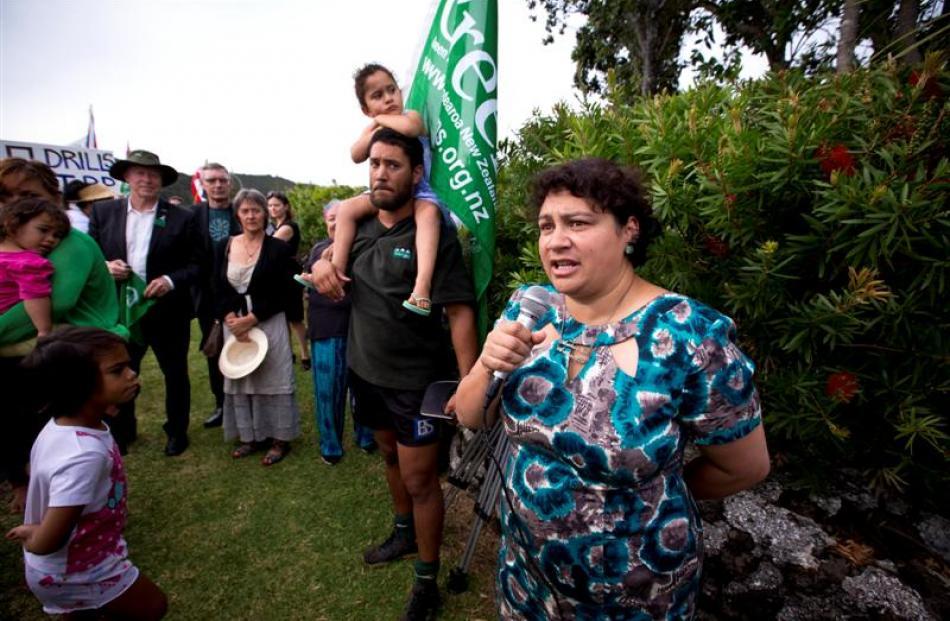 Greens co-leader Metiria Turei addresses deep-sea oil protesters in Waitangi yesterday.