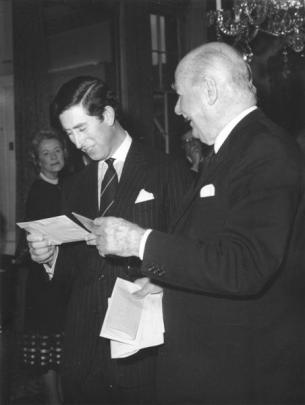 Prince Charles and Arthur Porritt at a Royal College of Surgeons function in 1978.