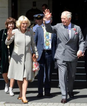 Prince Charles and the Duchess of Cornwall on their walk from the Dunedin Railway  Station to...
