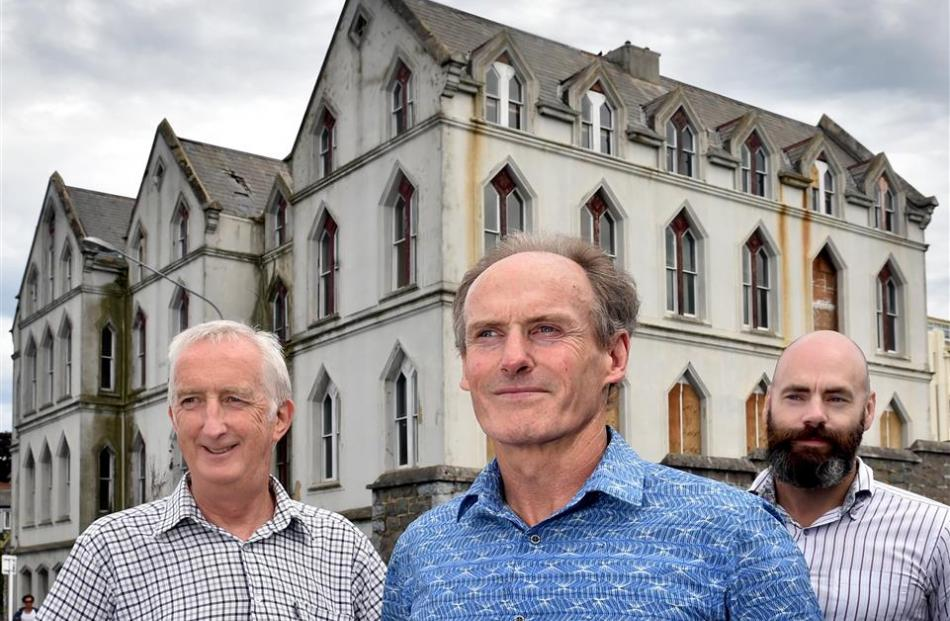 Priory redevelopment co-ordinator Sean Toomey (left), Catholic Diocese of Dunedin general manager...