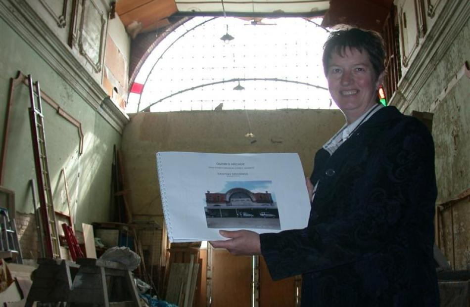 Pro-Ject Waimate co-ordinator Sheryl Frew inside the historic Quinn's Arcade with the concept...