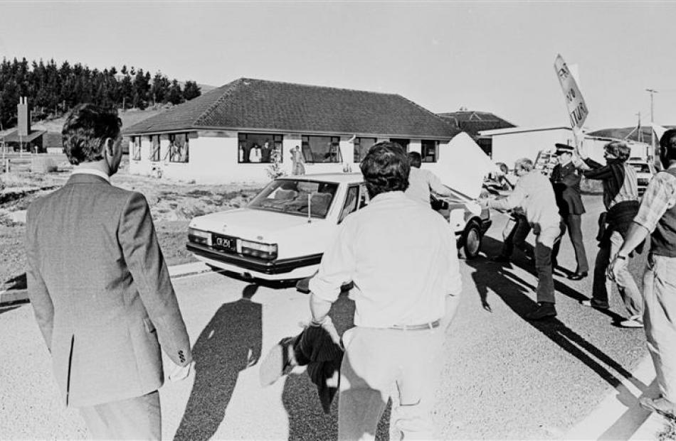 Protesters surround then prime minister David Lange's car as he  attempts to leave  Invermay in...