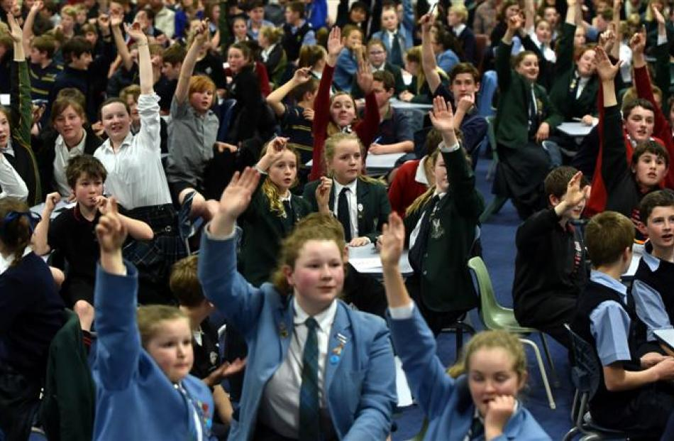 Pupils compete  at Bathgate Park School hall during the  quiz for years 7 and 8 pupils yesterday....