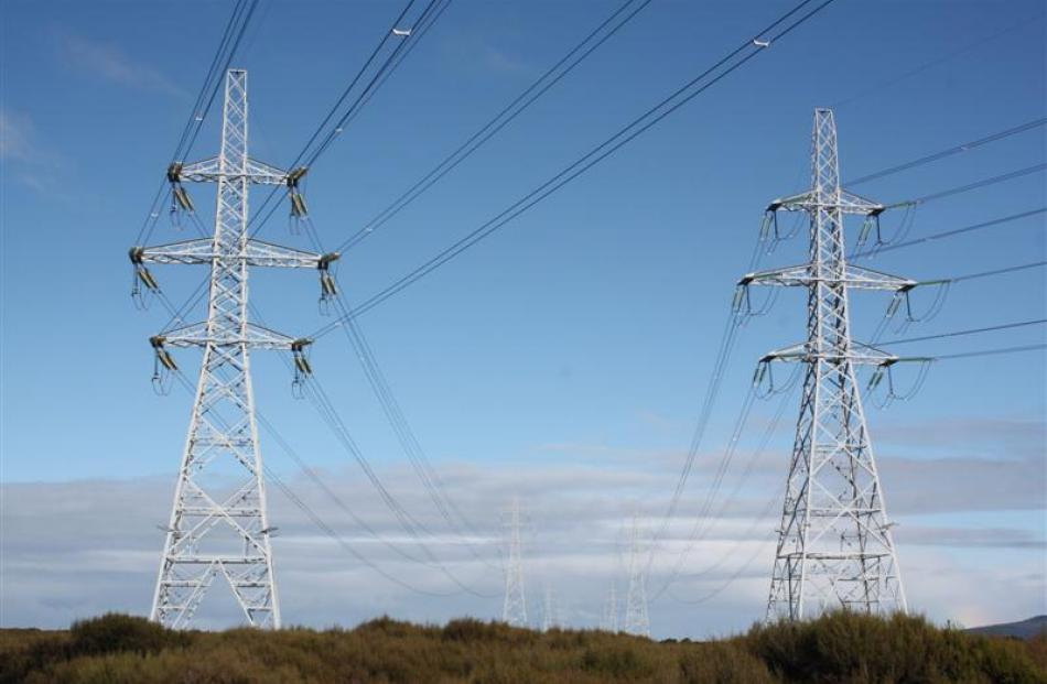 Pylons leading to New Zealand Aluminium Smelters' Tiwai Point  smelter, near Bluff. Photo by...