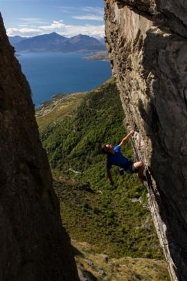 Queenstown climber Thomas Van den Berg scales ''the Leviathan'', considered one of Wye Creek's...