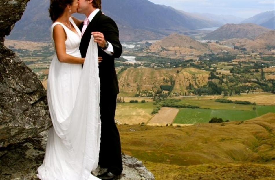 """Queenstown couple Lisa and Hayden Cosgrove, winners of a """"re-celebrate"""" your wedding day..."""
