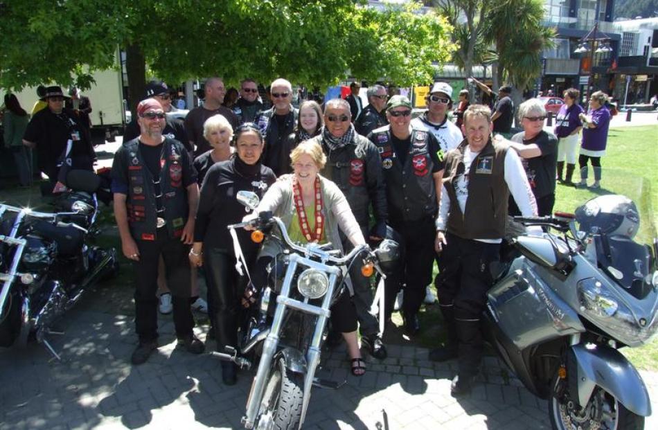 Queenstown Lakes Mayor Vanessa van Uden with White Ribbon riders after arriving in Queenstown...