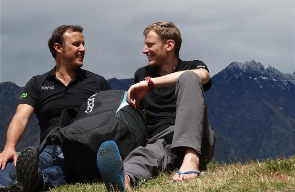 Queenstown paragliders Louis Tapper (left) and Nick Neynens. Photo by Tracey Roxburgh.