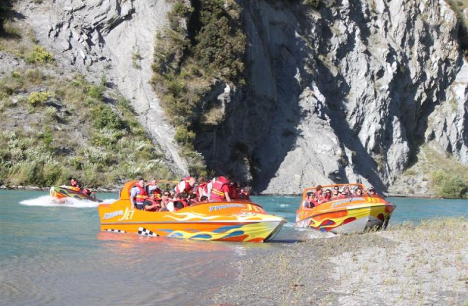 Queenstown's newest commercial jet-boat, Thunder Jet 3, front left, in the Kawarau River on...