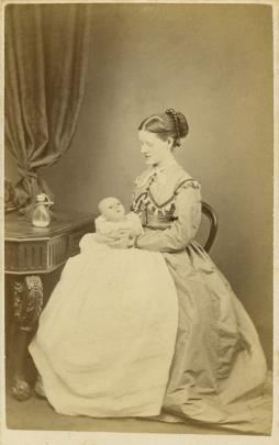 Rachel and Westwood Stewart, with the Victorian baby's feeding bottle on the table at left,...