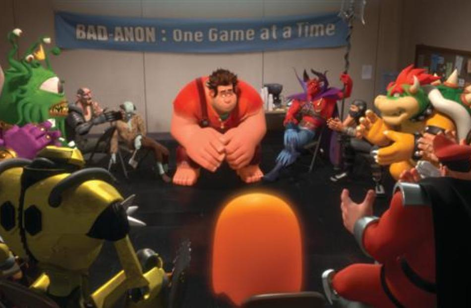 Ralph (voiced by John C. Reilly) and other video game bad guys talk about their lives during a...