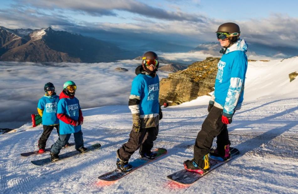 Ready for their first run on Coronet Peak's M1 today are (from left) Finn Duffy, Tiarn Collins,...