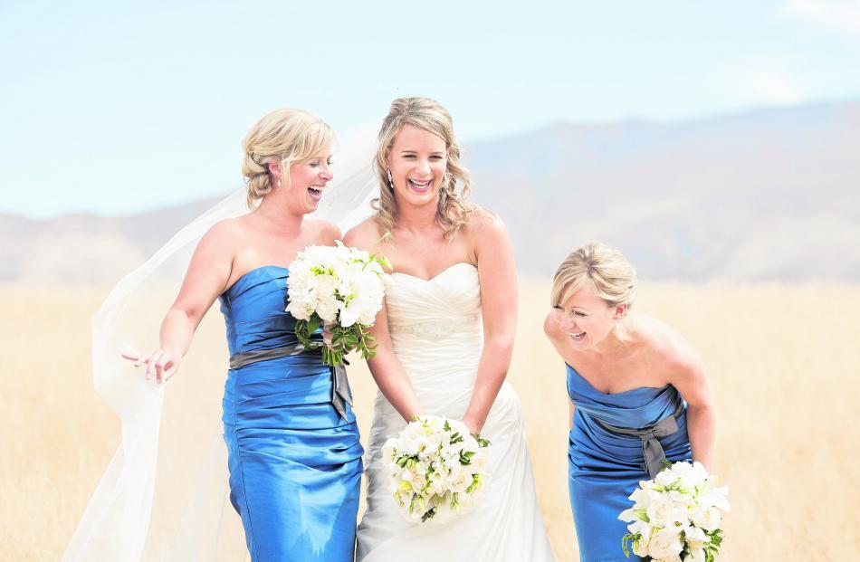 Rebecca Thacker and her bridesmaids. She married Mark Bland in Wanaka in February. ALPINE IMAGE CO