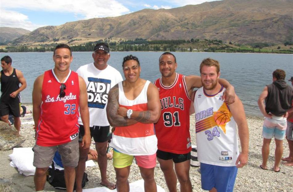 Relaxing at Eely Point  are (from left) Tamati Ellison, coach Jamie Joseph, Ma'a Nonu, Nasi Manu...