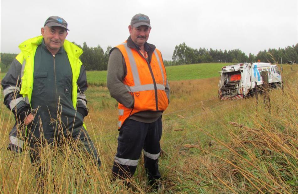 Retired farmer Alister Calder (left) and Delta driver Mike McClea at the site where Mr McClea...